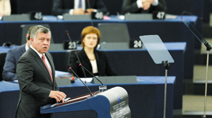 Jordanand#039;s King Abdullah addresses the European Parliament during a debate in Strasbourg