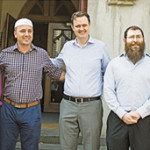 Multicultural Affairs Minister Robin Scott (centre) with faith leaders (from left) Bishop Philip Huggins, Imam Dr Bekim Hasani of the Albanian Mosque, Rabbi Dovid Gutnick of the East Melbourne Hebrew Congregation, and the Vicar of St Peter's Eastern Hill, the Revd Dr Hugh Kempster (right).