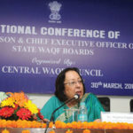 The Union Minister for Minority Affairs, Dr. Najma A. Heptulla addressing the National Conference of the Chairperson and Chief Executive Officer of State Waqf Boards, in New Delhi on March 30, 2016.